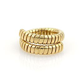 Bulgari Tubogas 18K Yellow Gold Flexible Bypass Band Ring Size 8.5-9