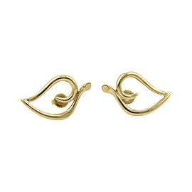 Tiffany & Co. 18K Yellow Gold Open Curved Leaf Earrings