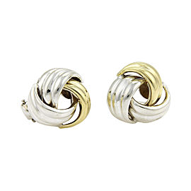 Tiffany & Co. Love Knot 18K Yellow Gold & Sterling Silver Clip On Earrings