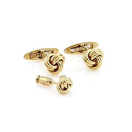 Tiffany & Co. Love Knot 18K Yellow Gold Cufflink & Tie Tack Pin Set