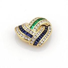 Charles Krypell 1.50ct. Diamond Emerald & Sapphire 18K Yellow Gold Heart Pendant