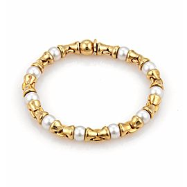 Bulgari Akoya Pearls 18K Yellow Gold Fancy Link Bracelet