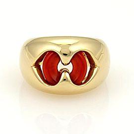 Bulgari Carnelian 18K Yellow Gold Open Double Hearts Ring Size 5