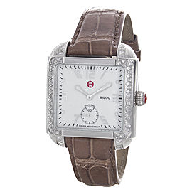 Michele Milou MWW15A000001 Stainless Steel White Mother of Pearl Dial Leather Band 31mm Womens Watch
