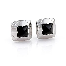 Bulgari Onyx 18K White Gold Floral Post Clip Earrings