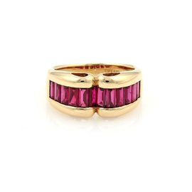 Tiffany & Co. 18K Yellow Gold & 3ct Baguette Ruby Curved Band Ring Size 8