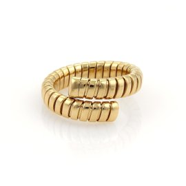 Bulgari Tubogas 18K Yellow Gold Single Flex Band Ring Size 7-7.5
