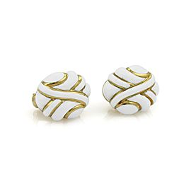 David Webb White Enamel & 18K Yellow Gold Post Clip Earrings