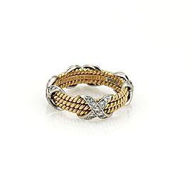 Tiffany & Co. Schlumberger Diamond Platinum 18K Yellow Gold 3 Row X Band Ring Size 6