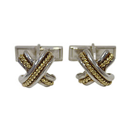 Tiffany & Co. Sterling Silver and 18K Yellow Gold Signature X Cufflinks