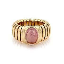 Bulgari Tubogas 18K Yellow Gold with 3.5ct Pink Tourmaline Band Ring Size 5.5