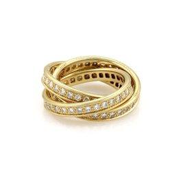 Cartier 18K Yellow Gold Full Circle Diamond Rolling Band Ring Size 6