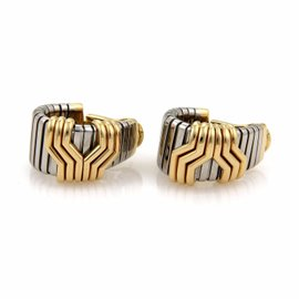 Bulgari Tubogas 18K Yellow Gold & Stainless Steel Oval Hoop Earrings