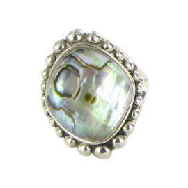 Lagos Caviar Maya 925 Sterling Silver with Abalone & Quartz Doublet Statement Ring Size 7