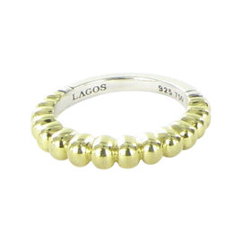 Lagos Caviar 18K Yellow Gold & 925 Sterling Silver Fluted Stacking Ring Size 7