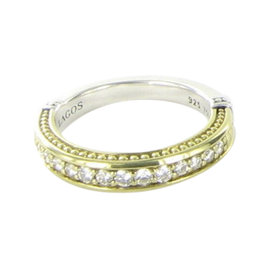 Lagos Caviar 18K Yellow Gold and 925 Sterling Silver with 0.38ct Diamond Stacking Ring Size 7