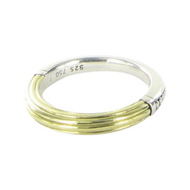 Lagos Caviar 18K Yellow Gold and 925 Sterling Silver Ribbed Stacking Ring Size 7