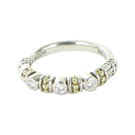 Lagos Caviar 18K Yellow Gold and 925 Sterling Silver with 0.10ct Diamond Stacking Ring Size 7