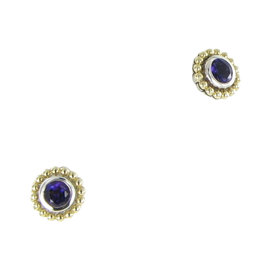 Lagos Color Caviar 18K Yellow Gold & 925 Sterling Silver with Amethyst Stud Earrings