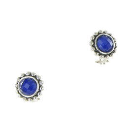 Lagos Maya 14K Yellow Gold & 925 Sterling Silver with Lapis and Quartz Doublet Circle Earrings