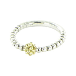 Lagos Caviar Icon 18K Yellow Gold and 925 Sterling Silver Beaded Ball Stacking Ring Size 7