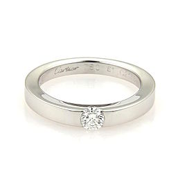 Cartier 18K White Gold & 0.21ct Diamond Solitaire Band Ring Size 5.75