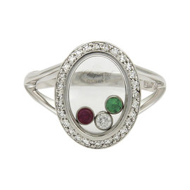 Chopard Happy Diamonds 18K White Gold with 0.20ctw Diamonds, Emerald and Ruby Ring Size 5