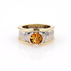 Georg Jensen 18K Yellow And White Gold 1ct Citrine Solitaire Band Ring Size 4.5