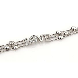 Chopard Happy Diamond Love 18K White Gold with 0.25ct Diamond Triple Row Hearts Chain Bracelet