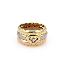 Chopard Happy Diamond 18K Rose, White and Yellow Gold with 0.05ct Diamond Triple Row Band Heart Ring Size 7.5