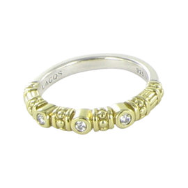 Lagos Caviar 18K Yellow Gold with 0.11ct Diamond Stacking Ring Size 7