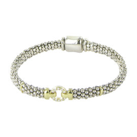 Lagos Caviar Enso 18K Yellow Gold and 925 Sterling Silver with 0.12ct Diamond Circle Station Bracelet