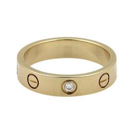 Cartier Mini Love 1 Diamond 18K Yellow Gold Band Ring Size 4.75