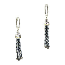Lagos Caviar Icon 18K Yellow Gold & 925 Sterling Silver Hematite Tassel Pendant Earrings