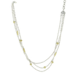 Lagos Caviar Icon 18K Yellow Gold & 925 Sterling Silver 3 Row Ball Chain Necklace