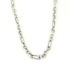 David Yurman 925 Sterling Silver and 18K Yellow Gold Cable Wire Oval Link Chain Necklace