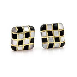 Angela Cummings 18K Yellow Gold with Black Jade and Mother of Pearl Checkboard Earrings
