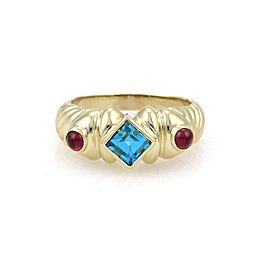 David Yurman Cable 18K Yellow Gold with Topaz and Tourmaline Ring Size 7.5