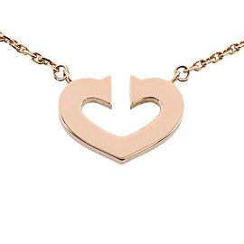 Cartier 18K Rose Gold C Heart Pendant Necklace