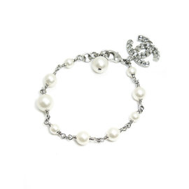 Chanel Silver Tone Hardware with Simulated Glass Pearl Bracelet