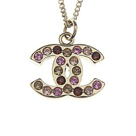 Chanel Gold Tone Hardware with Rhinestone Pendant Necklace