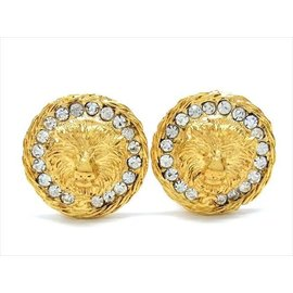 Chanel Vintage Gold Tone Hardware with Rhinestone Earrings