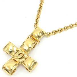 Chanel Gold Tone Hardware Coco Mark Cross Pendant Necklace