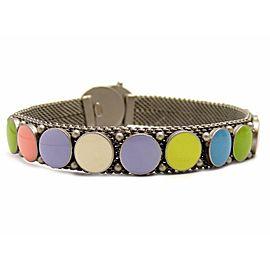 Chanel Silver Tone Hardware Multi Color Bangle Bracelet