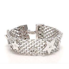Chanel Silver Tone Hardware Rhinestone Bracelet