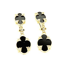 Judith Ripka 14K Yellow Gold with 0.36ctw Diamond and Onyx Dangle Earrings