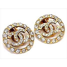 Chanel Gold Tone Hardware with Rhinestone Coco Mark Earrings