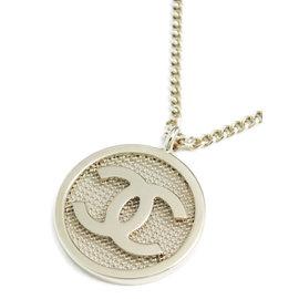 Chanel Silver Tone Hardware Pendant Necklace