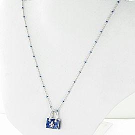 Hidalgo Handbag Purse Necklace with Diamond Fleur de Lis 18K White Gold Enamel