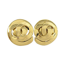 Chanel Coco Mark Gold Tone Hardware Clip Earrings